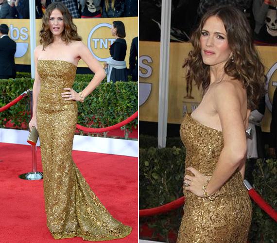Jennifer Garner Oscar de la Renta 2012-es előőszi kollekciójának egy arany kreációjában tündökölt. Egy ilyen csillogó ruha természetesen nem tűrt meg feltűnő ékszereket, a színésznő egyetlen éke hullámos hajkoronája volt.