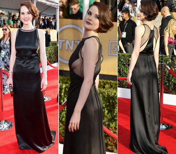 Michelle Dockery, a Downton Abbey című brit sorozat 31 éves sztárja sem szégyenlősködött fekete estélyi ruhájában - a kreáció főleg oldalról merész.