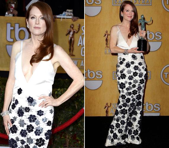 A januári Screen Actors Guild Awardson azzal keltett feltűnést, hogy nem húzott melltartót a Chanel 2011-12-es őszi-téli haute couture kollekciójának egyik darabja alá.