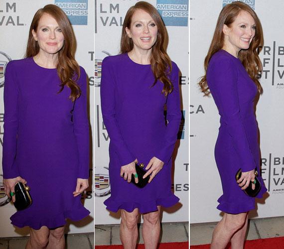 Áprilisban a Tribeca Filmfesztiválon élénkebb lilába bújt - akkor karcsú alakját hangsúlyozta a ruha.