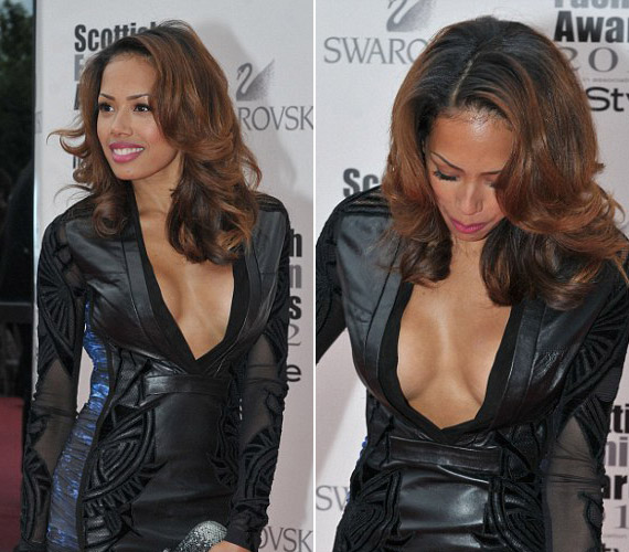 Jade Ewen ebben a fekete bőrruhában mutatta meg csodás alakját és domborulatait.
