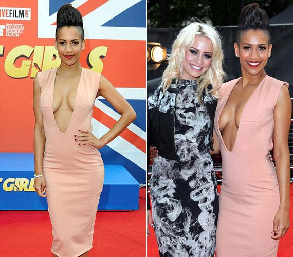 Dominique Tipper színésznő egy filmbemutatóra vette fel ezt a sokat mutató, pink színű ruhadarabot.