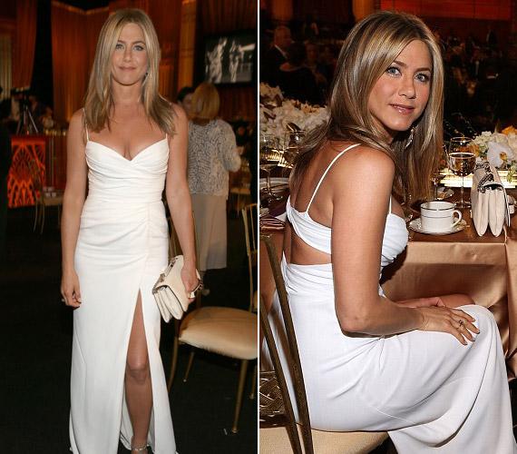 Jennifer Aniston csodás, fehér ruhájában az est királynője volt az AFI Life Achievement díjátadó gálán.