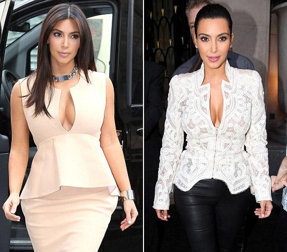 Kim Kardashian, Kanye West barátnője mindig is kedvelte a mélyen dekoltált ruhadarabokat. Íme, kettő, amelyekben ebben a hónapban tündökölt.