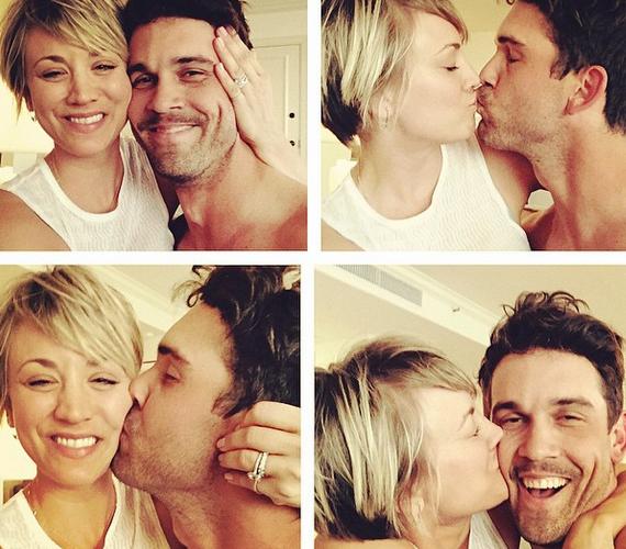 Kaley Cuoco és Ryan Sweeting három hónap jegyesség után házasodtak össze 2013 szilveszterén. A képen látszik, tökéletes összhangban vannak, a színésznő pedig jegygyűrűjét is megmutatta.