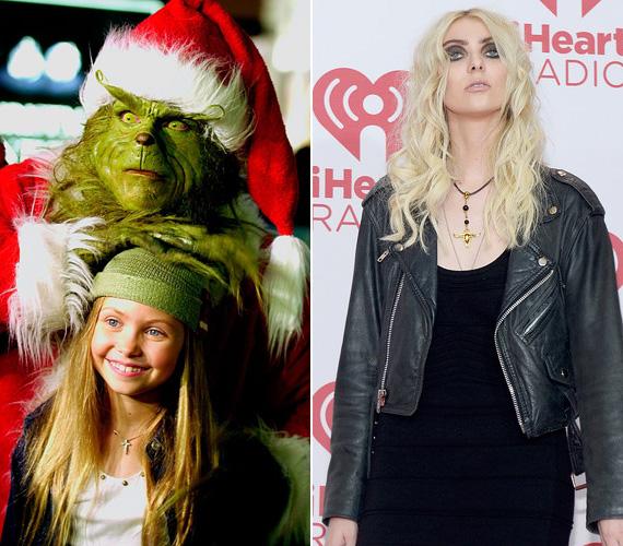 A mostanság erősen kihúzott szemekkel és platinaszőkén mutatkozó Taylor Momsen is volt cuki kislány, A Grincs című 2000-es filmben ő alakította Cindy Lou Who-t. Ezt követően játszott egyebek közt a Pletykafészek sorozatban, de 2011-ben egy időre felhagyott a színészettel, hogy énekesnői karrierjét építgesse. Azóta a 21 éves sztár bandájával, a The Pretty Reckless-szel lép fel különféle helyszíneken.