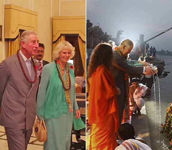 Ünnepélyes fogadtatásban volt részük, részt vehettek a hindu hívők különleges folyó menti szertartásán.