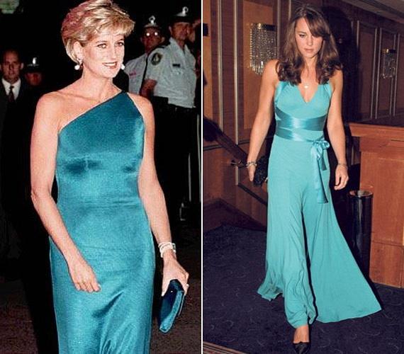 Mindketten türkizben és szaténban. Az első báljaik egyikén Diana és Katalin is egy egészen hasonló ruhára voksolt.
