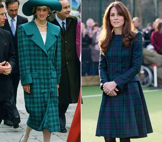 Skóciai útjuk során hagyománytiszteletből mindketten felöltötték a zöld kockás darabjaikat - ezúttal Katalin alakja érvényesül jobban, és Diana bújt bő kabát alá.