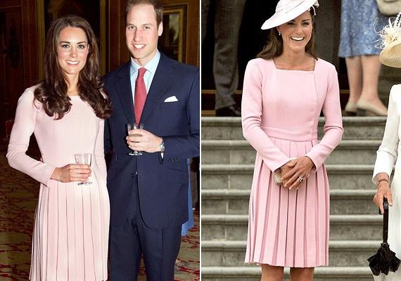 Katalin először Erzsébet királynő uralkodásának 60. évfordulóján viselte ezt a pasztellrózsaszín estélyit, majd 11 nappal később egy teapartira is ebben érkezett.
