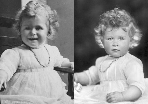 Erzsébet királynő már egyévesen is igazán lányos ruhácskát viselt. A fotó kedvéért még egy egyszerű kis nyakláncot is kapott a nyakába.