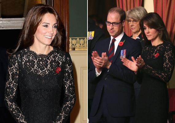 Mindenki fekete ruhában érkezett a megemlékezésre, ebben a gyönyörű csipkeruhában Katalin mégis kitűnt a tömegből.