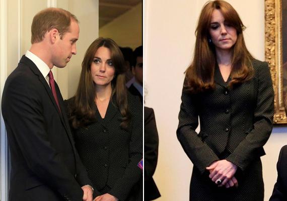 Nem akarta elterelni a figyelmet csinos ruháival az ügyről, a hercegné egyszerű, fekete kosztümben érkezett.