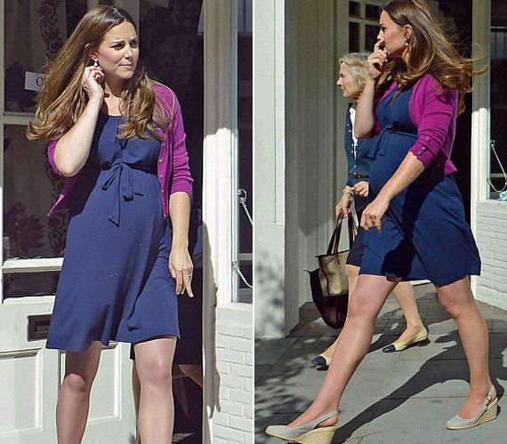 Nem csak a kirakat, hanem Katalin hercegné is kékbe öltözött, melyet pink kardigánnal dobott fel - utóbbira szükség is volt a napsütéses ám szeles londoni időjárás miatt.