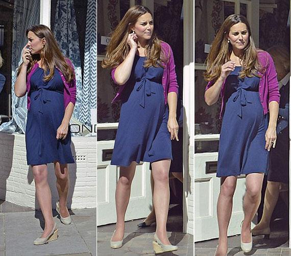 A július 13-ra kiírt Kate Middleton ezúttal a kényelmet helyezte előtérbe, nem csak ruhája, de a cipője is kényelmes volt: a tűsarkút telitalpasra cserélte.