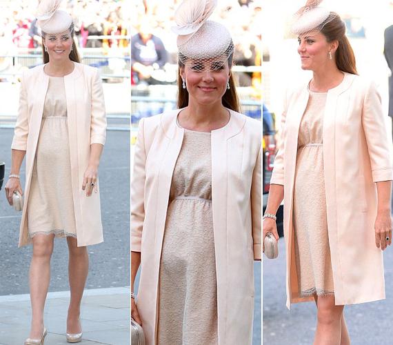 A Westminster-apátságba II. Erzsébet királynő koronázásának 60. évfordulójára roppant elegánsan, egy púderszínű Jenny Packham csipkeruhájában érkezett.