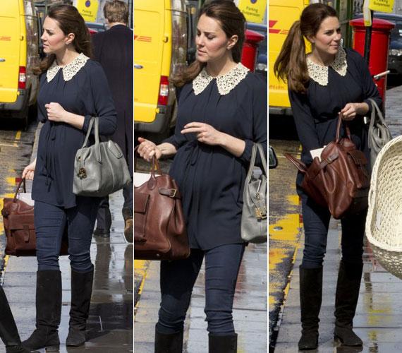 A hétvégén Kensingtonban kapták lencsevégre, amint édesanyjával, Carole Middletonnal mózeskosarat vásároltak. Az esős napon Katalin hercegné csizmát, farmert és csipkegallérral díszített tunikát húzott.
