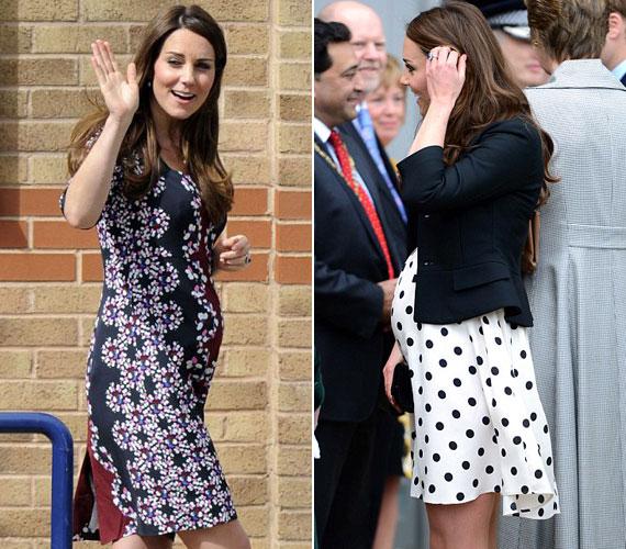 Az első fotó április 22-én, a másik 25-én készült: csak három nap az eltérés, a jobb oldali képen mégis jóval nagyobbnak tűnik Katalin hercegné babapocakja.