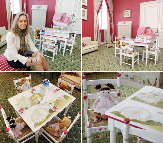 A tulajdonos, Lucinda Croft a Grosvenor House hotelben be is mutatta a nem éppen olcsó bútorokat. A kisgyermekekre tervezett székecskéket és asztalkát kézzel festették - utóbbin a Buckingham-palota vagy a London Eye is látható.