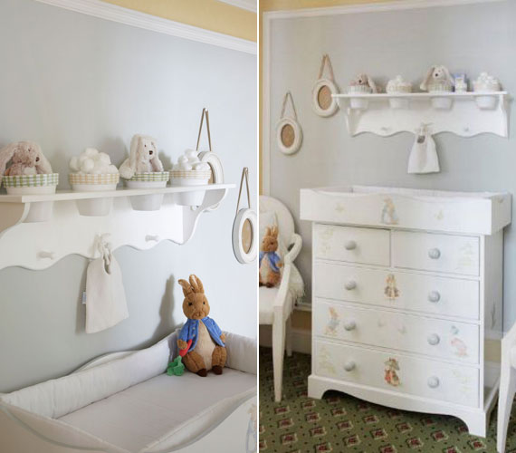 A bútorok némelyikét Beatrix Potter mesefigurái, köztük Péter nyúl díszítik. Utóbbi plüssállat formájában is megtalálható a szobában.