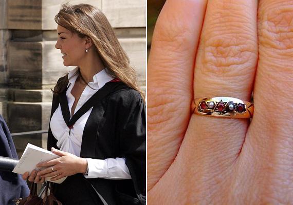 Az első ajándék, amit Katalinnak adott ez a gyöngyökkel és rubinokkal díszített gyűrű volt, aminek érdekessége, hogy a rubin Katalin csillagjegyéhez tartozó drágakő, míg a gyöngyök Vilmos csillagjegyét szimbolizálják. A herceg 2005-ben ajándékozta neki, amikor még csak 18 hónapja jártak együtt.