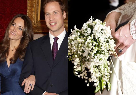 Vilmos herceg 5 év együttjárás után tette fel Katalinnak a nagy kérdést és adta át neki édesanyja eljegyzési gyűrűjét, egy gyémántokkal díszített zafír gyűrűt, fehérarany keretben. Habár a hercegné remekül festett az estélyi ruhában, aznap mindenki a kezét figyelte.