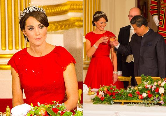 Kedvenc tervezője, Jenny Packham ismét gyönyörű ruhát álmodott meg a hercegnének. A piros szín remekül áll neki.
