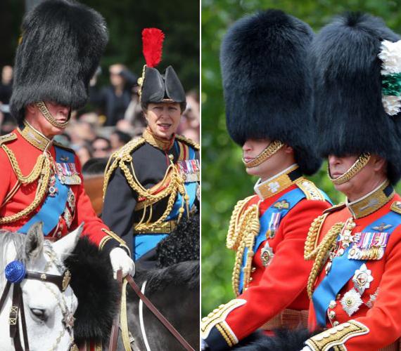 Károly herceg, Anna hercegnő és Vilmos is díszegyenruhát öltött.
