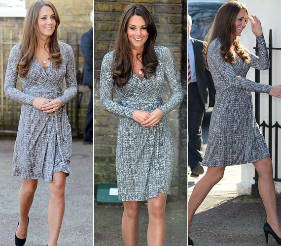 Az első nyilvános eseményre egy MaxMara ruhát választott a 2011-es kollekcióból. A ruha több mint 100 ezer forintba kerül, a hercegné öltözetét pedig egy gyémánt nyaklánc tette még csillogóbbá.