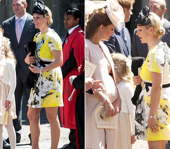 Zara Phillips volt a királyi családban az egyetlen, aki nem vett fel kabátot, sárga ruhájában így valószínűleg nem volt melege.