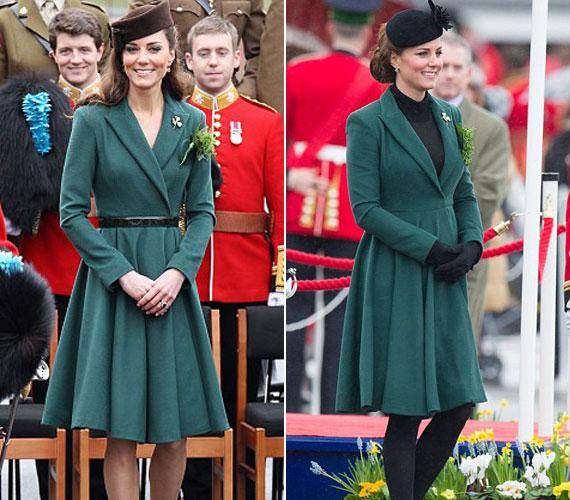 Szent Patrik napján tavaly és idén is Emilia Wickstead zöld kabátjában jelen meg azzal a különbséggel, hogy idén nem húzott hozzá övet.