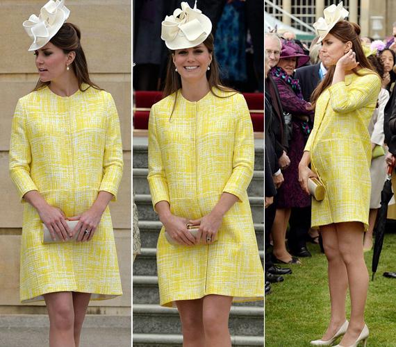 A hercegné kanárisárga kabátjában igen feltűnő jelenség volt a nyolcezres tömegben, a királynőre nem is sokan figyeltek.