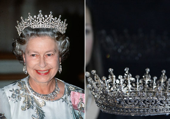 A királynő legfényűzőbb tiarájának a neve is pompás: Nagy-Britannia és Írország leányai. Katalin természetesen ezt a fejdíszt is kölcsön kérheti.