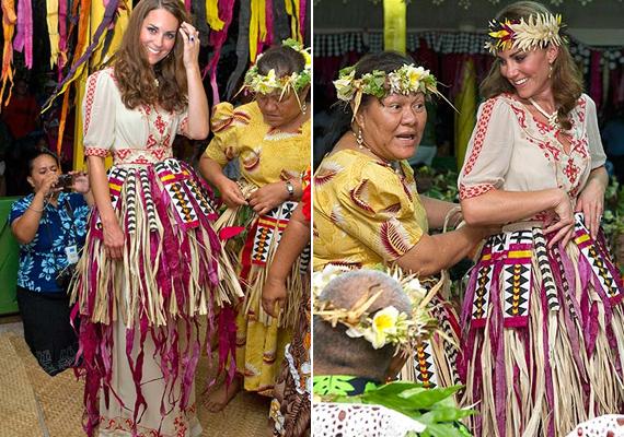 2012-ben Óceánia egyik legnagyobb államába, Tuvaluba látogattak el. A hercegné kapott egy fűszoknyát, és egy virágos koronát is a fejére.