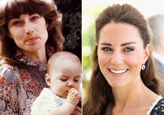 A 33 éves, második gyermekével várandós Katalin hercegnő a bal oldali képen anyja ölében látható alig néhány hónaposan.