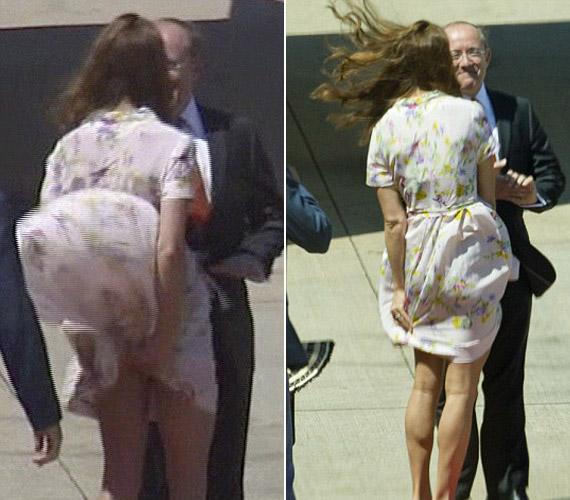 Brisbane repülőterén könnyed szoknyáját fújta fel a szél, ugyanis nem volt hajlandó a szegélyébe nehezéket tenni, ahogy azt a királynő kérte.