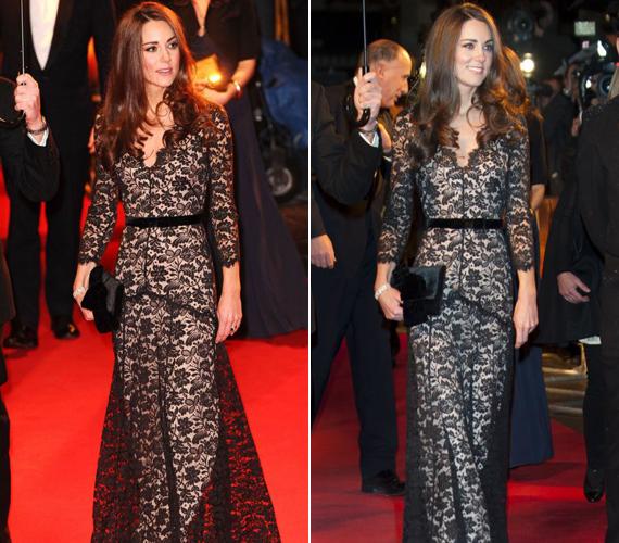 Ezt a ruhát viselte a Hadak útján filmpremierjén 2012 januárjában és a St. Andrews iskola adománygyűjtő gálaestjén.