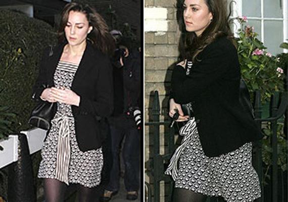 Szintén egy buliba tartott Kate Middleton a mintás ruhában és a hatalmas blézerben. Sem a szín, sem a minta, sem a méret nem stimmel.