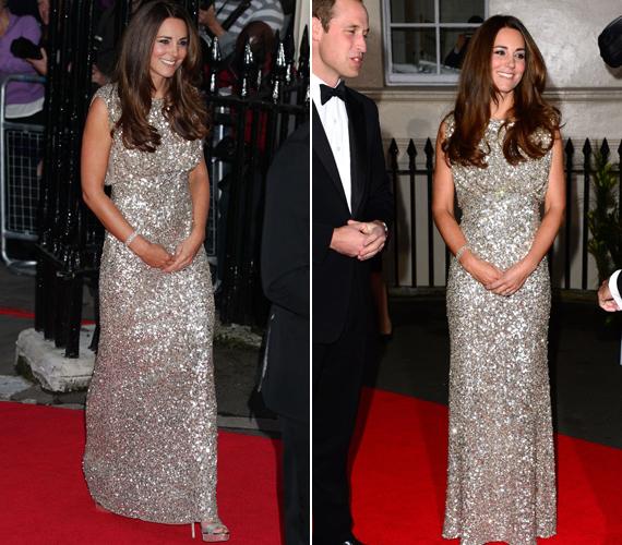 Katalin hercegnő elragadóan nézett ki az ezüst flitteres ruhában.