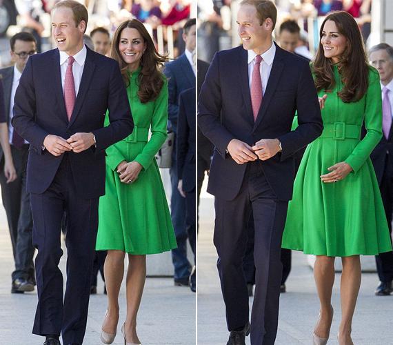 Catherine Walker volt Diana hercegnő és Katalin édesanyjának a kedvenc tervezője, az ő zöld kabátját viseli most Katalin.