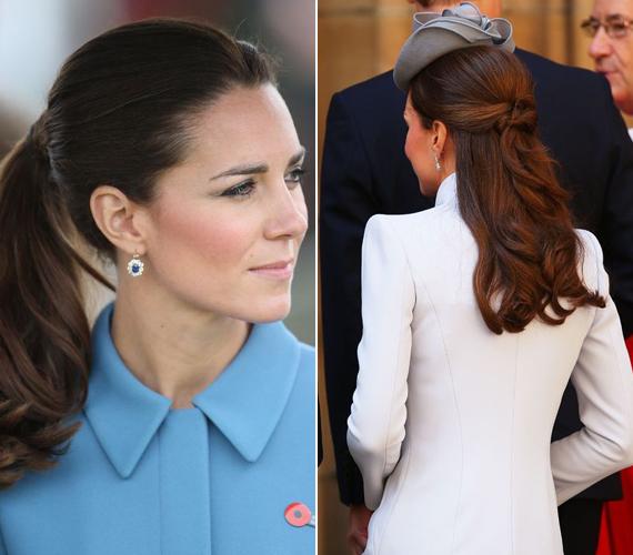 A bal oldali fotón egy klasszikus copffal látható a hercegnő, míg a jobbon egy hátul, lazán összetűzött félkonyot visel. Szerinted melyik frizura állt neki a legjobban?