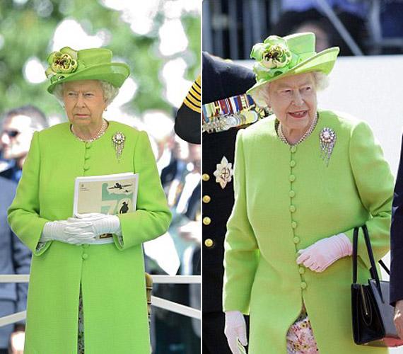 Erzsébet királynő mindenkit meglepett fiatalos, kiwizöld ruhájában.