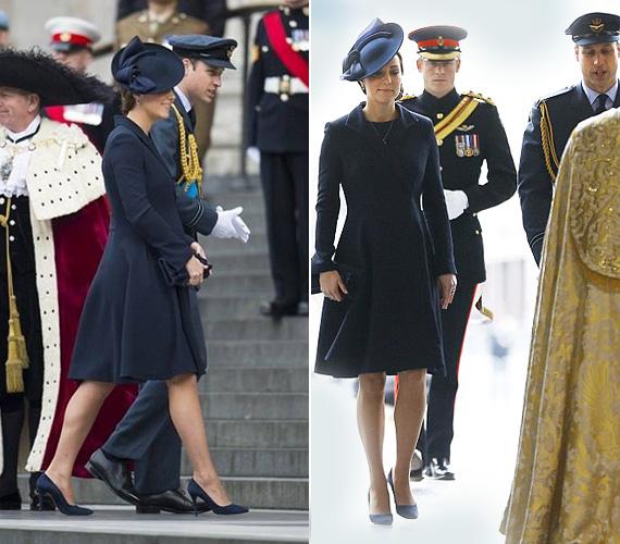 Katalin hercegnő a mai napon egy Beulah London kabátot viselt, amelyhez ugyanolyan színű cipőt és kalapot vett fel.