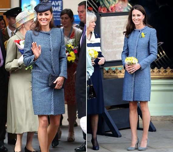 Ez a kék Missoni kabát több alkalommal is volt rajta, mint például 2012 júniusában, a királynő gyémánt jubileumi ünnepségén, de Katalintól már megszokták a rajongók, hogy kedvenc ruhadarabjait nem csupán egyszer viseli.