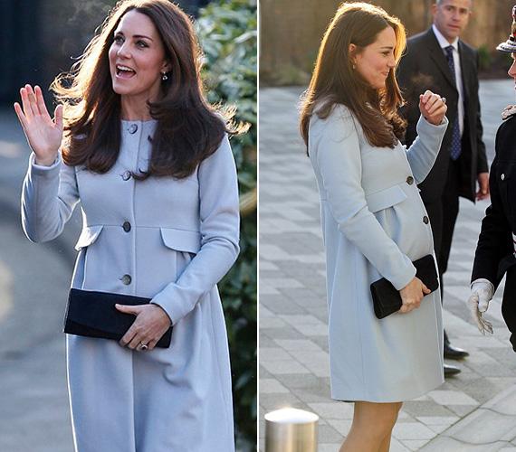 2015 januárjában ebben a babakék Seraphine kabátban láthatták az alattvalók a várandós hercegnőt.