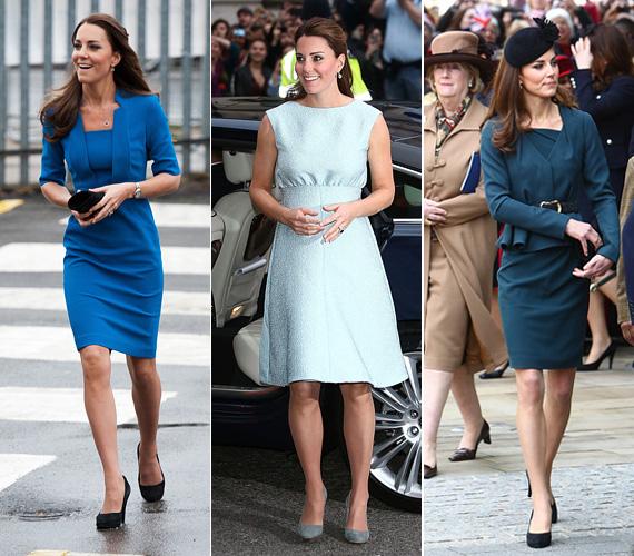 Nemcsak kabátként szereti Katalin hercegnő a kék színt, de ruhában is. Az első képen egy L. K. Bennett dresszt visel, a második, babakék ruha Emilia Wickstead kollekciójából való, a sötéttürkiz ruhát pedig Reina Isabel tervezte.