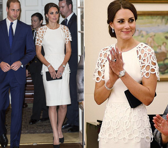 Fehér Lela Rose koktélruhájában csodásan festett a hercegnő, amikor férjével Canberrába érkeztek április 24-én.