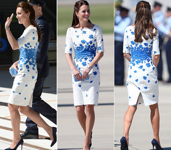A kék virágmintás LK Bennett ruha az ausztrál körút során a második legolcsóbb ruhája volt, ez 95 ezer forintba kerül. A legolcsóbb, amit felvett, 13 ezerbe.
