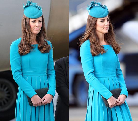 A kék Emilia Wickstead ruhát a Dunedin repülőtéren viselte. A tervezőnő szintén az egyik kedvence Katalinnak.