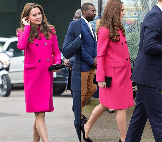 Pink Mulberry kabátja nem csak élénk színe miatt emlékezetes, hanem azért is, mert Katalin hercegnő ebben mutatkozott utoljára a szülés előtt, március végén.